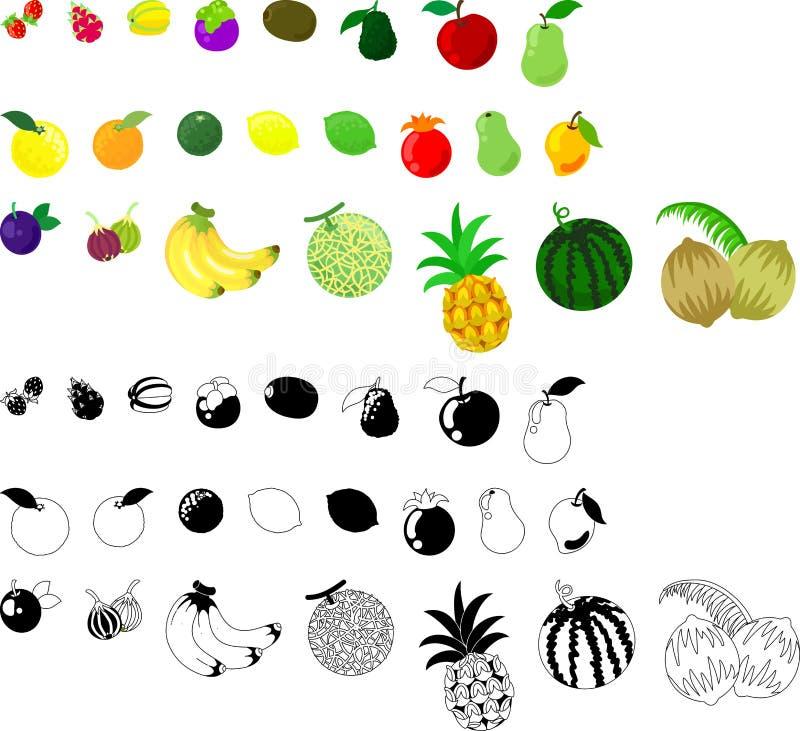 Symbolerna av frukter royaltyfri illustrationer