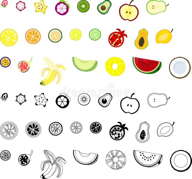 Symbolerna av frukter vektor illustrationer