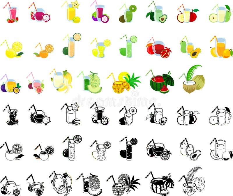 Symbolerna av fruktfruktsaft stock illustrationer