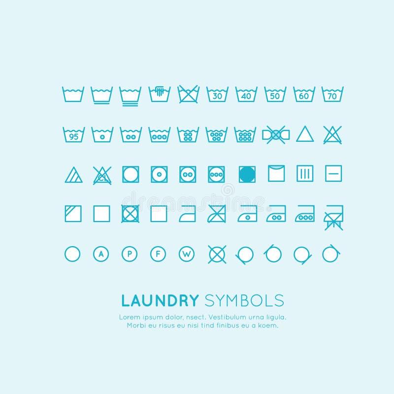 Symbolerna på etiketterna av kläder som tvättar sig och att vrida om och att torka och att stryka, tunn linje design Konventionel royaltyfri illustrationer