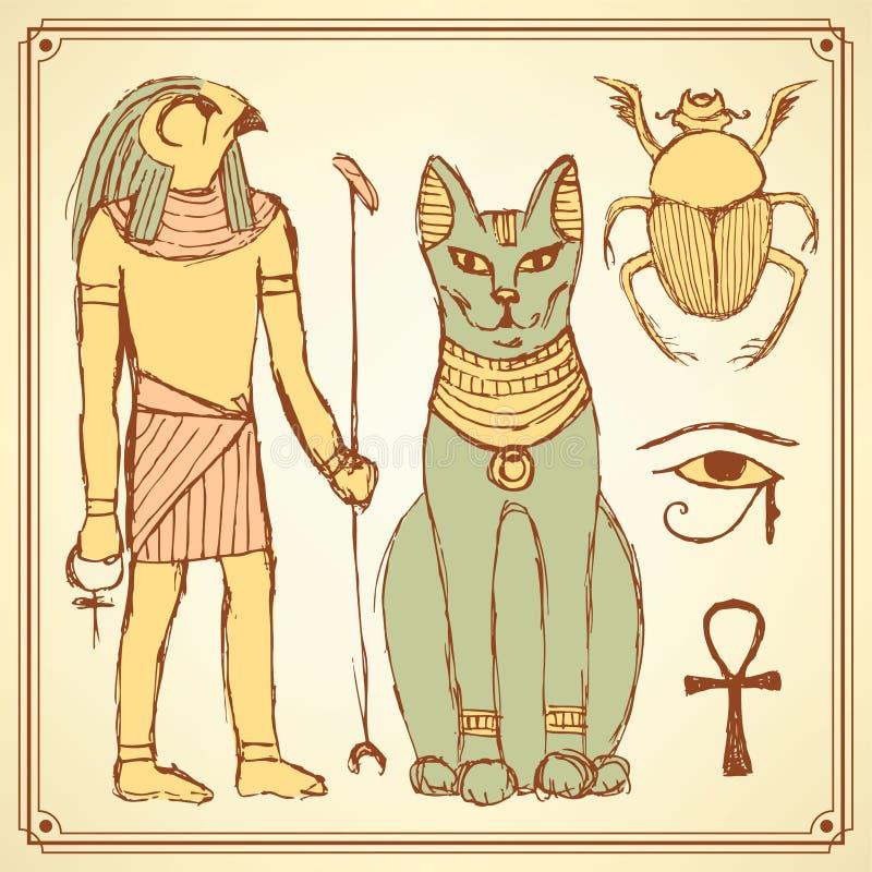 Symboles égyptiens de croquis dans le style de vintage illustration de vecteur