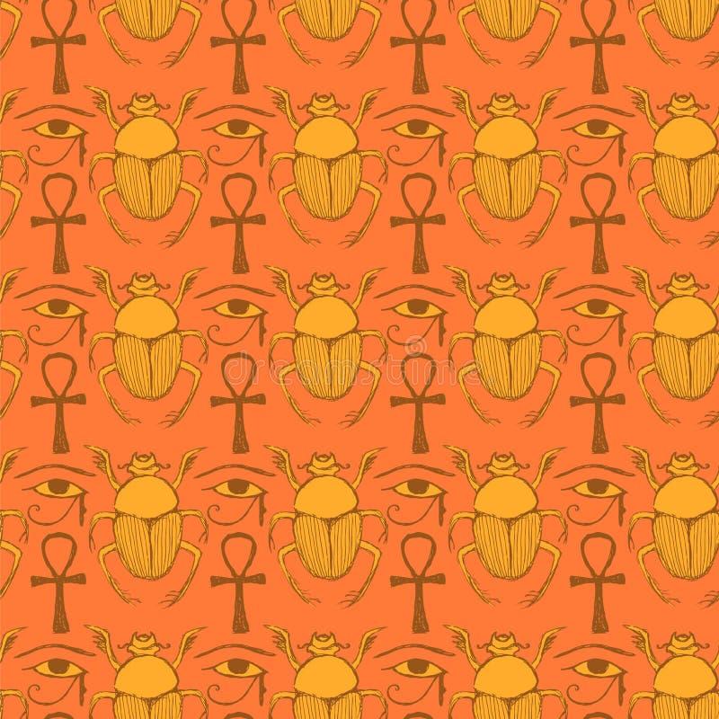 Symboles égyptiens de croquis dans le style de vintage illustration libre de droits