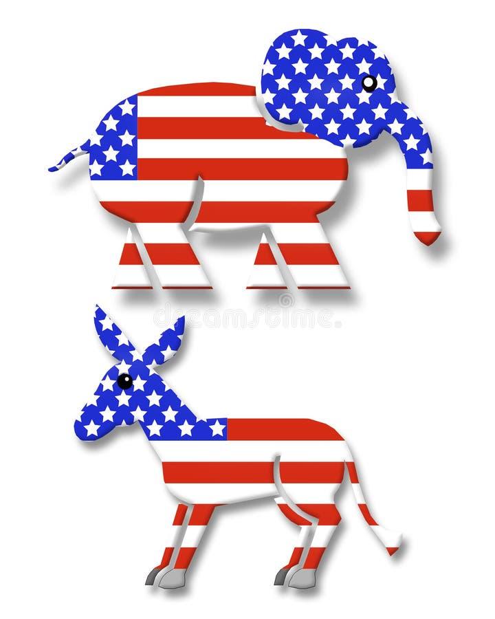 Symboles 3D de réception politique illustration de vecteur