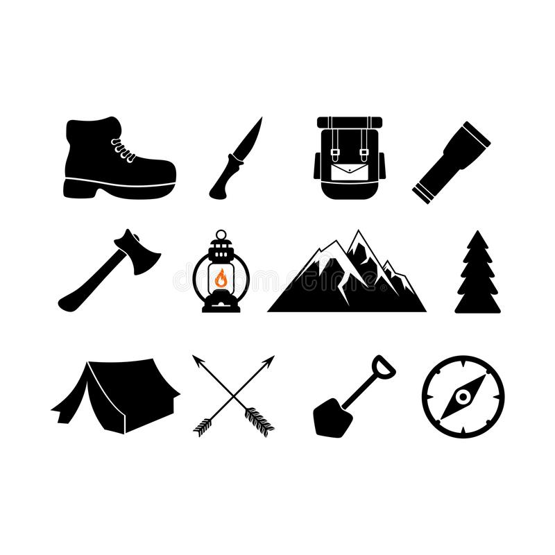 Symboles campants Ensemble d'icônes de camp illustration stock