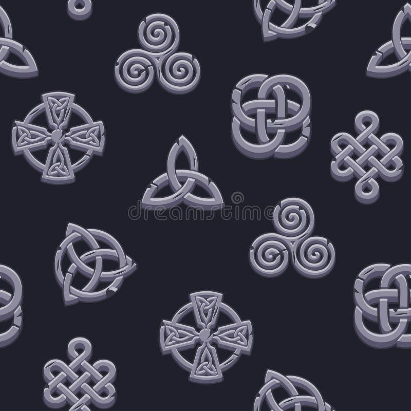 Symboles celtiques de modèle sans couture Icônes celtiques de pierres d'ensemble de bande dessinée sur le fond noir illustration libre de droits
