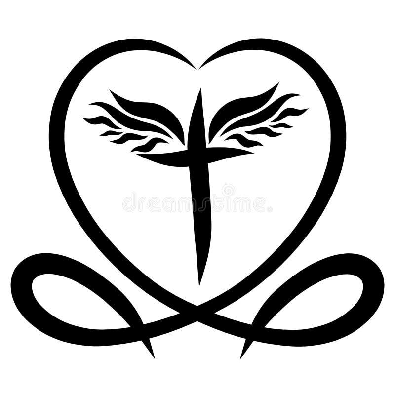 Symboles chrétiens, croix à ailes au coeur avec des poissons illustration libre de droits