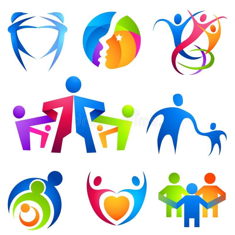 Symboles connectés par gens illustration libre de droits