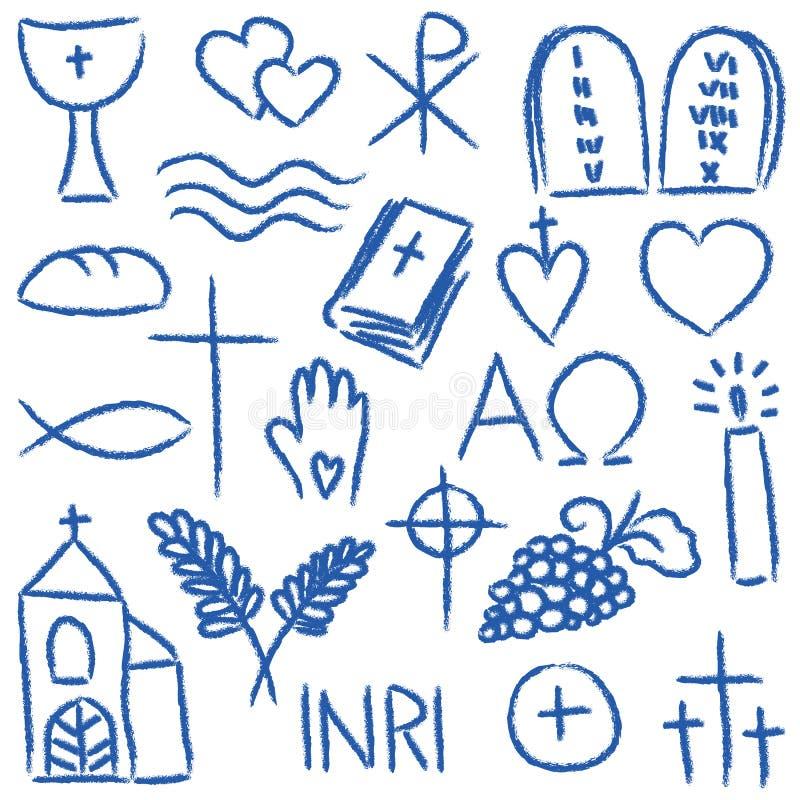 Symboles crayeux religieux illustration de vecteur