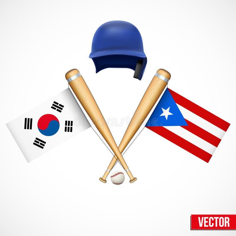 Symboles d'équipe de baseball Corée du Sud et Puerto illustration stock