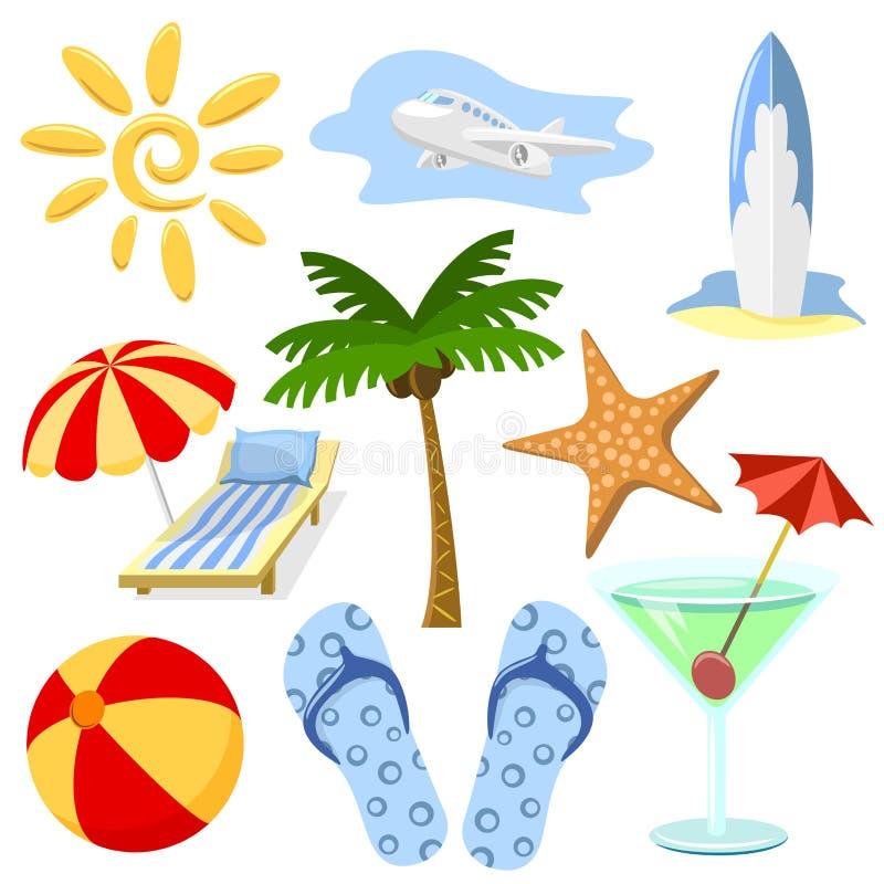 Symboles d'été et de course illustration libre de droits