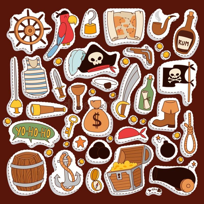 Symboles d'aventure de collection de vecteur d'icônes d'autocollants de pirate illustration stock