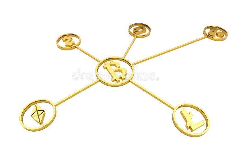 Symboles d'or de cryptocurrency sur le fond blanc aucune ombre rendu 3d illustration libre de droits
