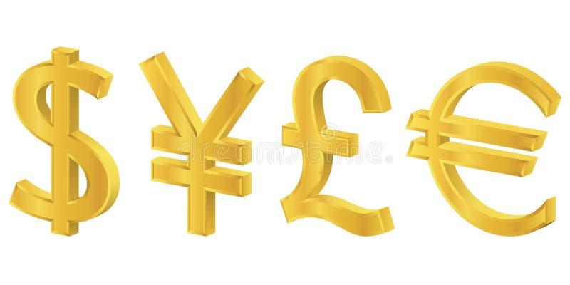 symboles d'or de la devise 3d illustration libre de droits