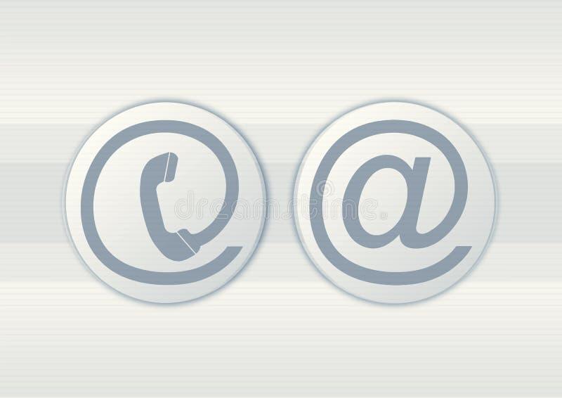 Symboles d'email et de téléphone illustration stock