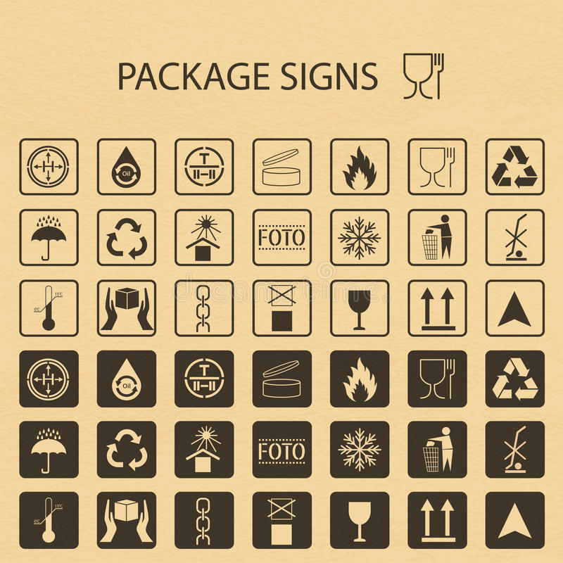 Symboles d'emballage de vecteur sur le fond de carton L'icône d'expédition a placé comprenant la réutilisation, fragile, la durée illustration libre de droits