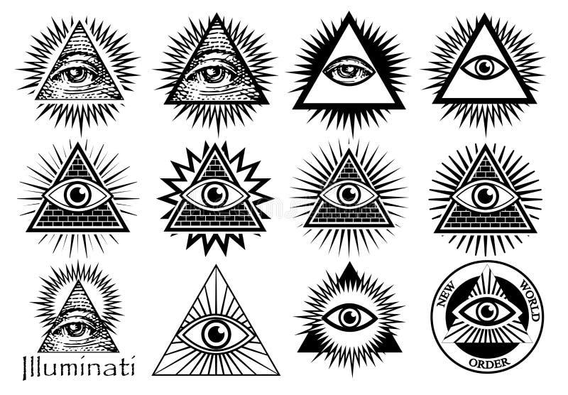 Symboles d'Illuminati, signe maçonnique, tout l'oeil voyant illustration libre de droits