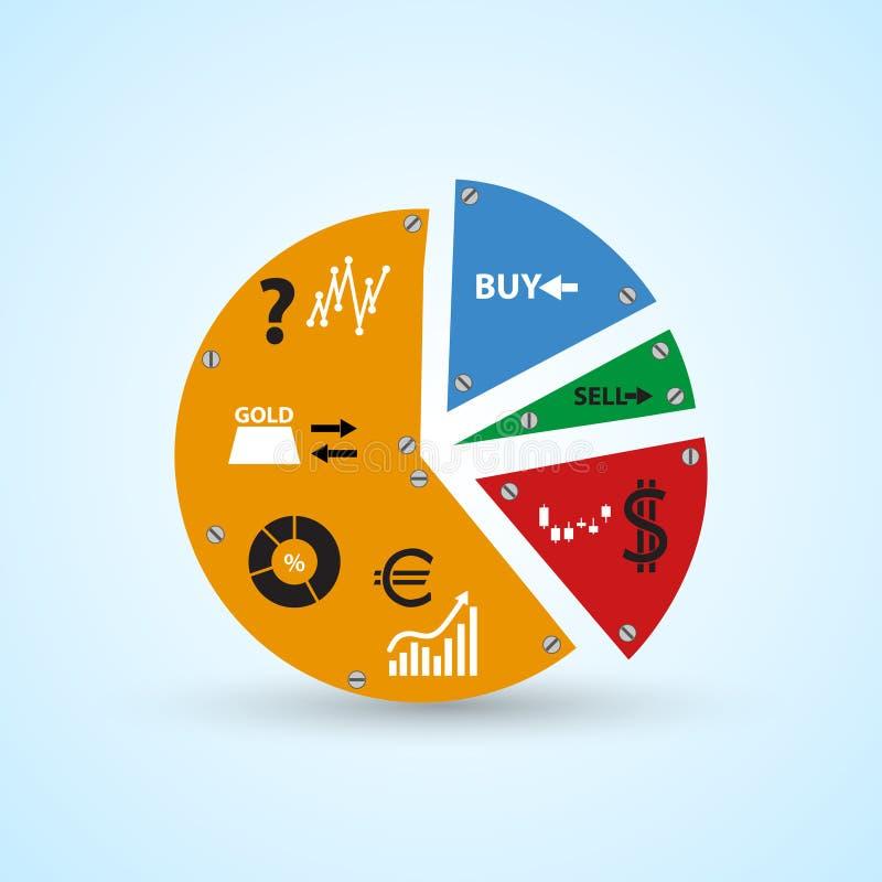 Symboles d'Infographics dans le grand graphique de cercle coloré des pièces eps10 illustration stock