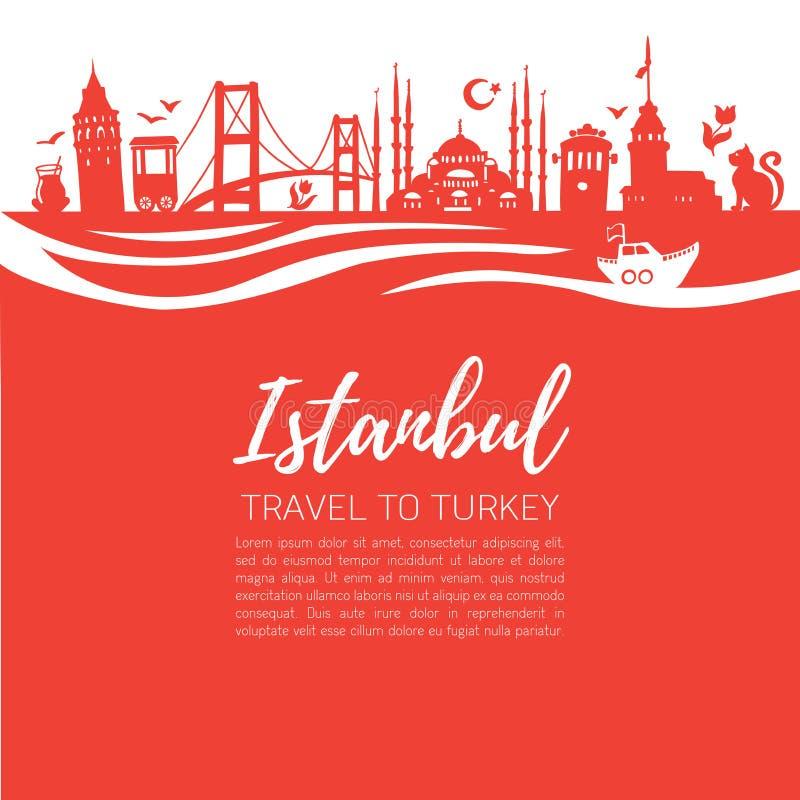 Symboles d'Istanbul Illustration plate moderne de vecteur des points de repère turcs célèbres illustration de vecteur