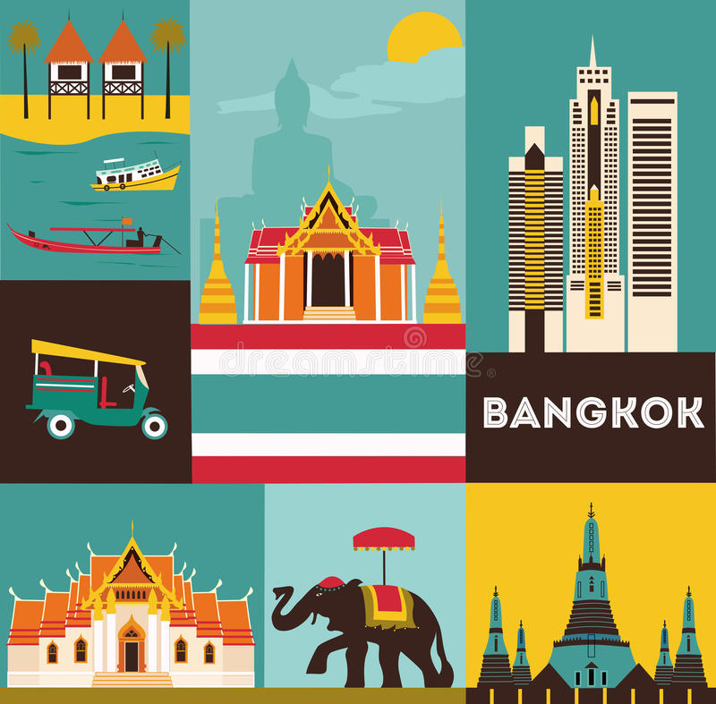 Symboles de Bangkok illustration stock