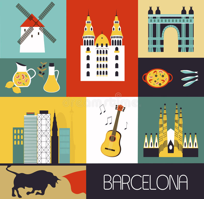 Symboles de Barcelone illustration libre de droits