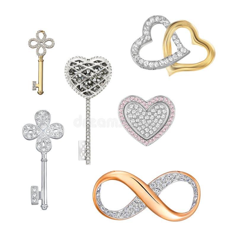 Symboles de bijoux de l'amour, chance, fortune image stock