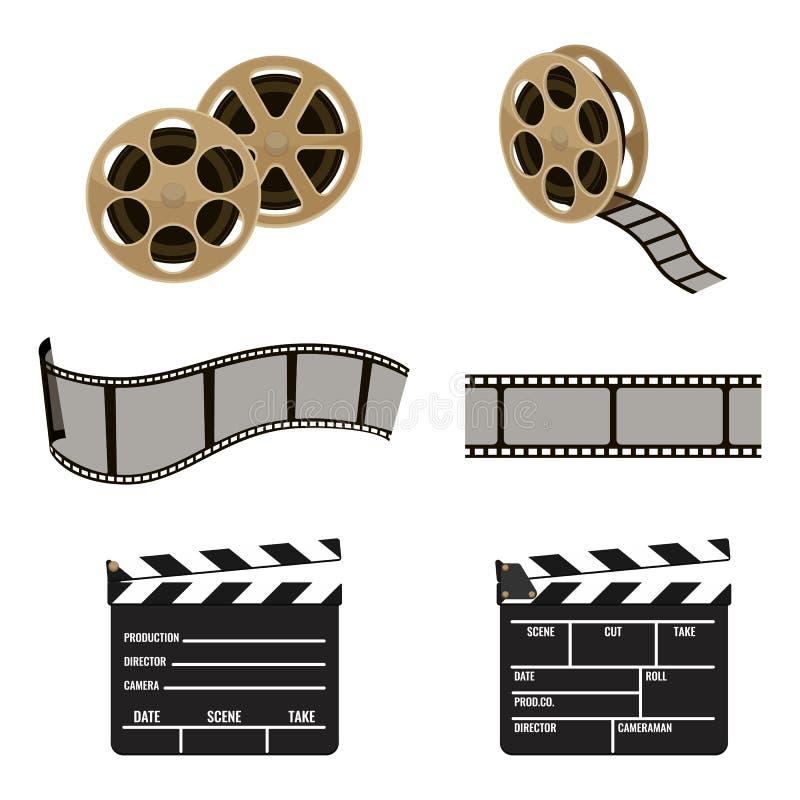 Symboles de bobine de film et de panneau de clapet de longueur de cinéma illustration de vecteur