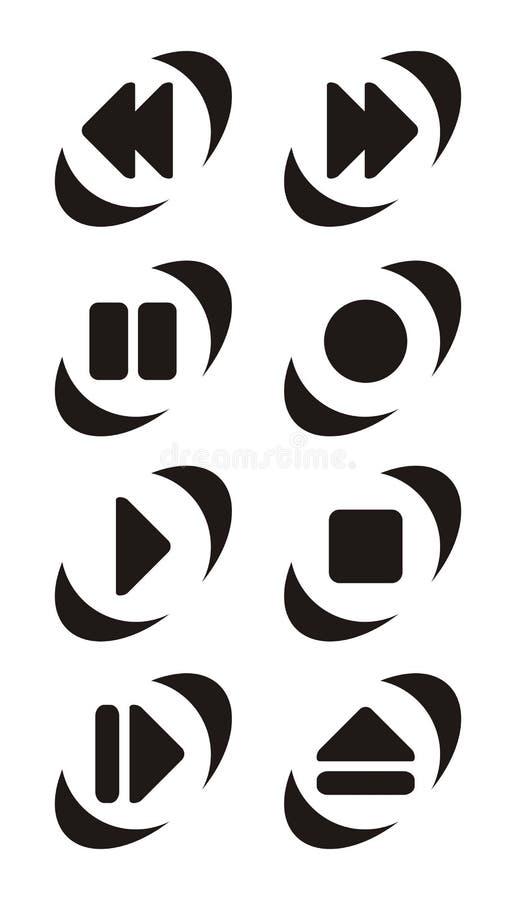 Symboles de bouton de joueur illustration libre de droits