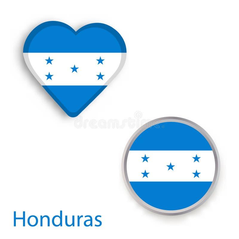 Symboles de coeur et de cercle avec le drapeau du Honduras illustration de vecteur