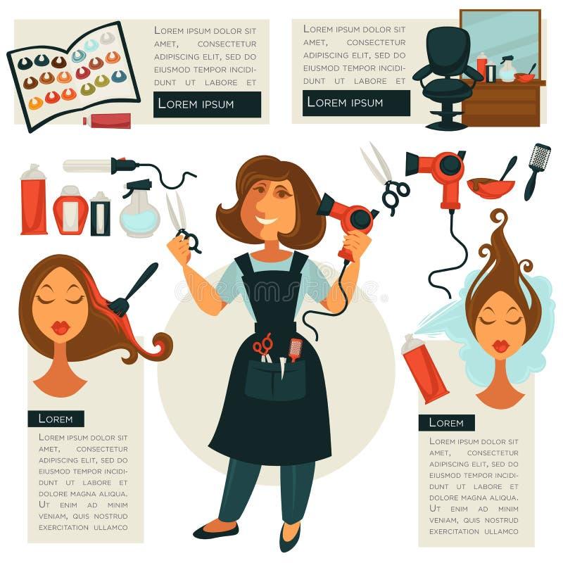 Symboles de coiffeur et outils de coiffeur illustration libre de droits