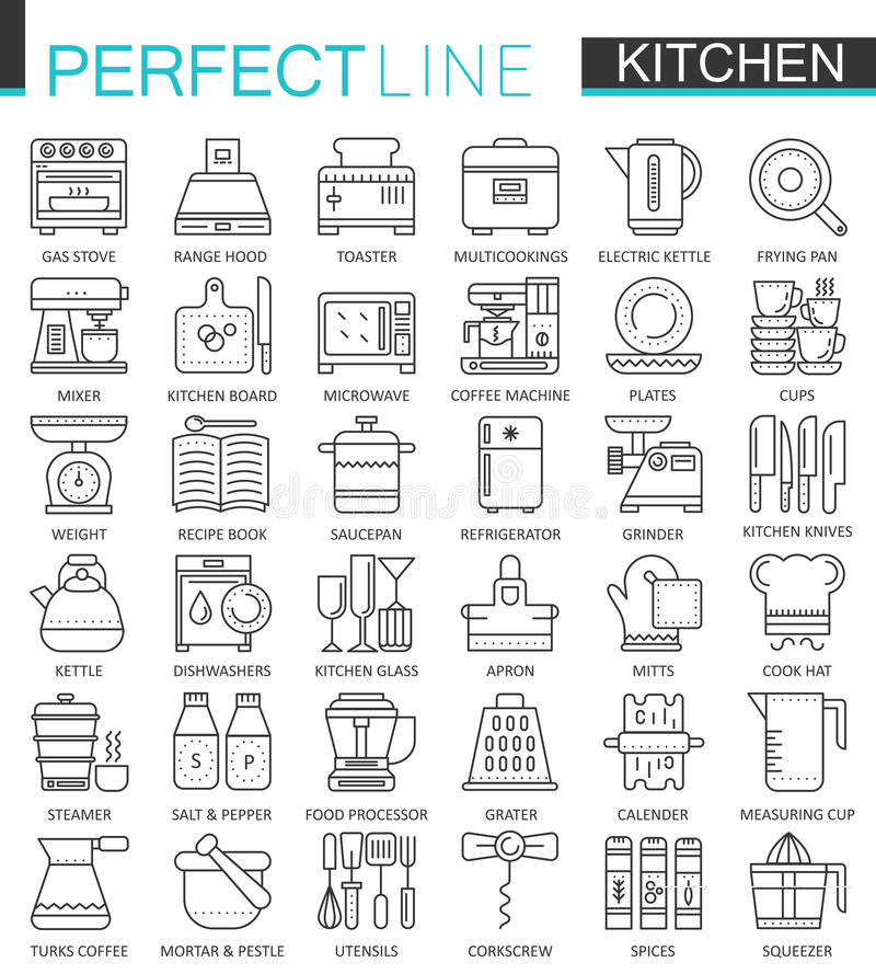 Symboles de concept d'ensemble de cuisson et de cuisine Ligne mince parfaite icônes Illustrations linéaires modernes de style de  illustration de vecteur