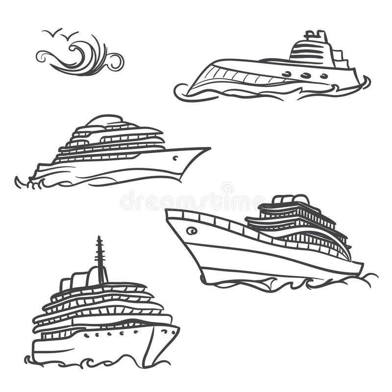 Symboles de dessin de yacht illustration libre de droits