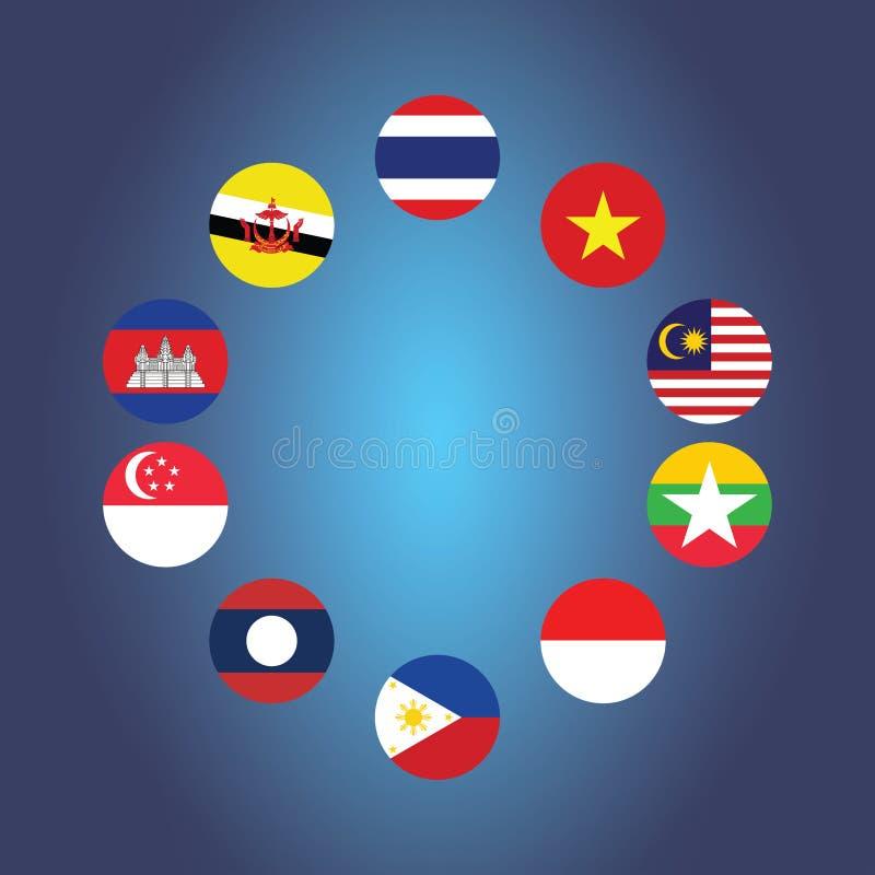 Symboles de drapeau de la communauté économique d'ASEAN de l'AEC Illustration de vecteur illustration stock