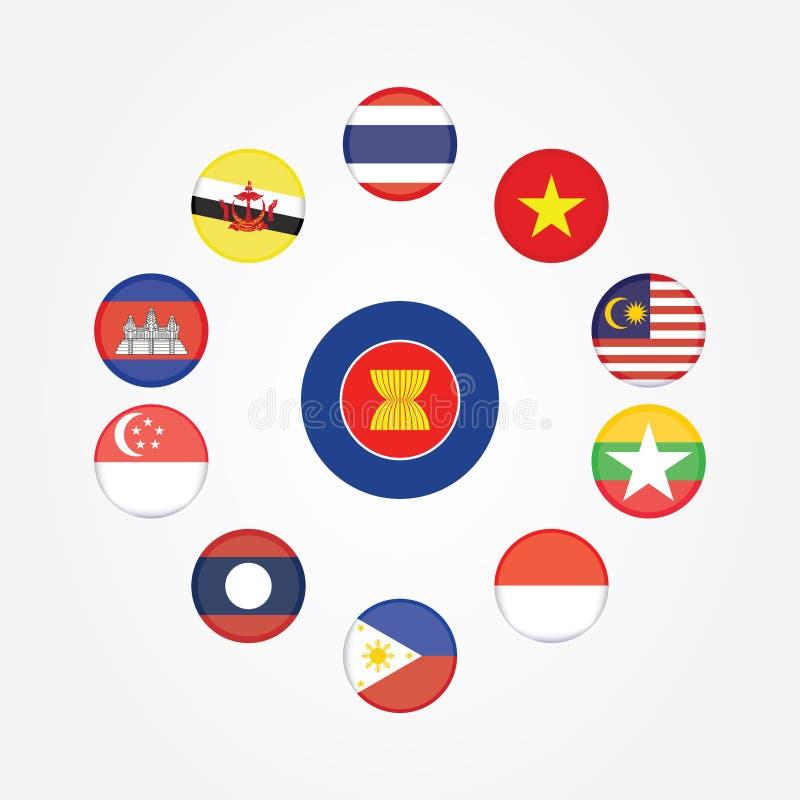 Symboles de drapeau de la communauté économique d'ASEAN de l'AEC Illustration de vecteur Icône de drapeau de l'AEC Asie du Sud-Es illustration stock