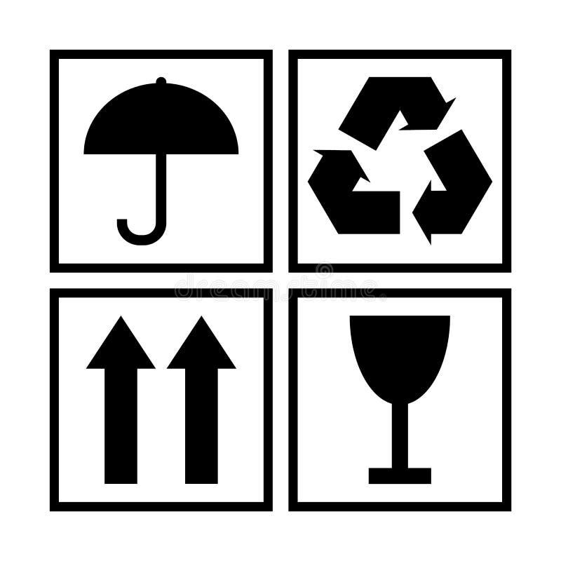 Symboles de empaquetage noirs et blancs de cargaison illustration stock