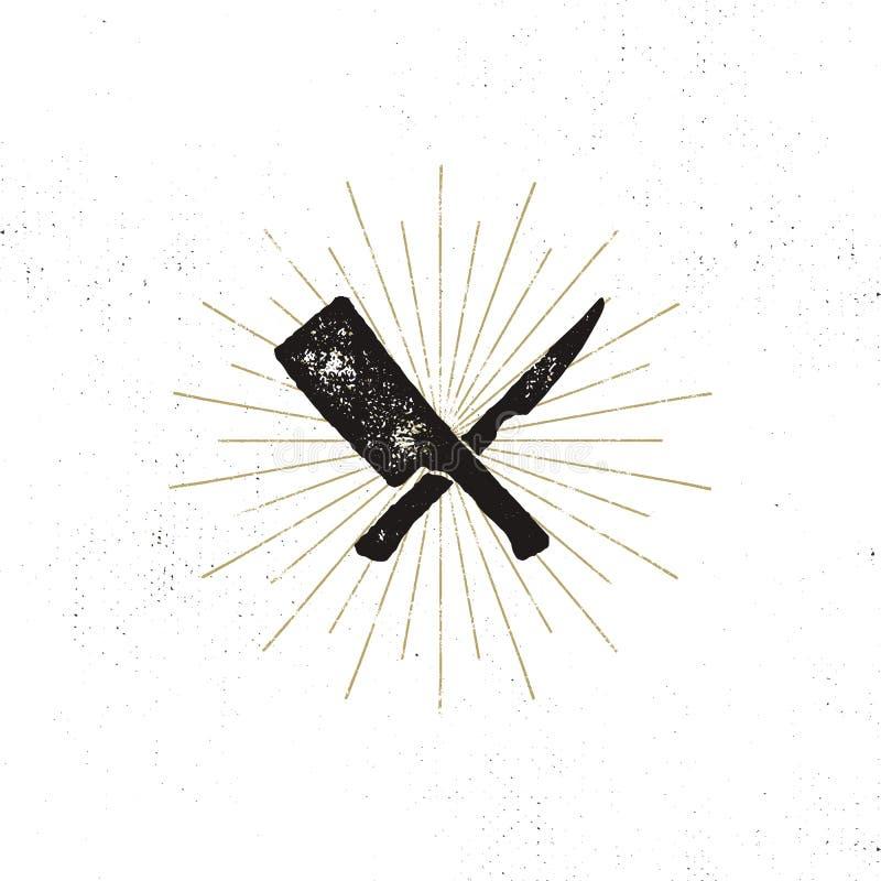 Symboles de fendoir et de couteau de viande Symbole de grill de vintage Effet d'impression typographique avec des rayons de solei illustration de vecteur