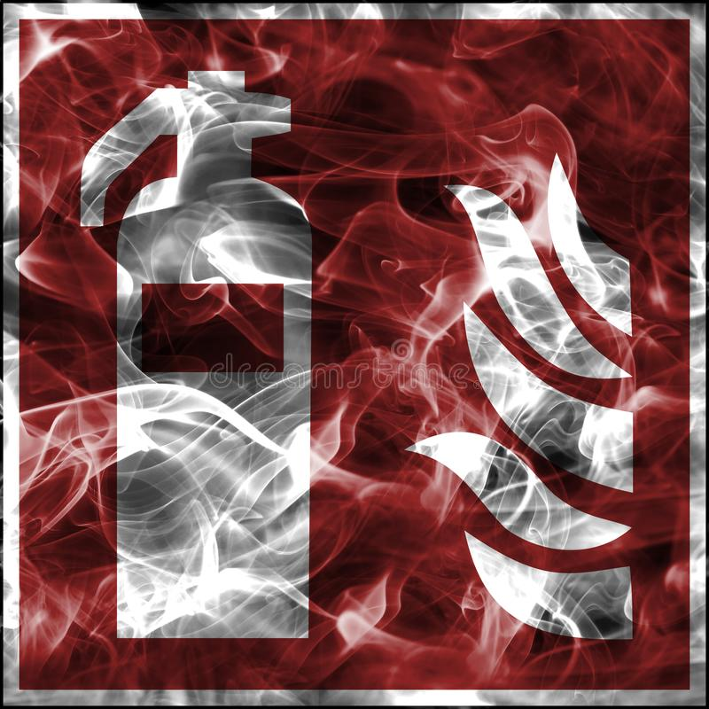 Symboles de fumée de secours pour l'équipement de lutte contre l'incendie Signe standard de sécurité incendie pour l'extincteur illustration de vecteur