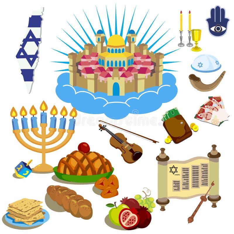 Symboles de Hanoucca Les icônes dans le style de bande dessinée illustration de vecteur