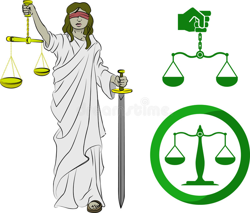Symboles de justice illustration stock
