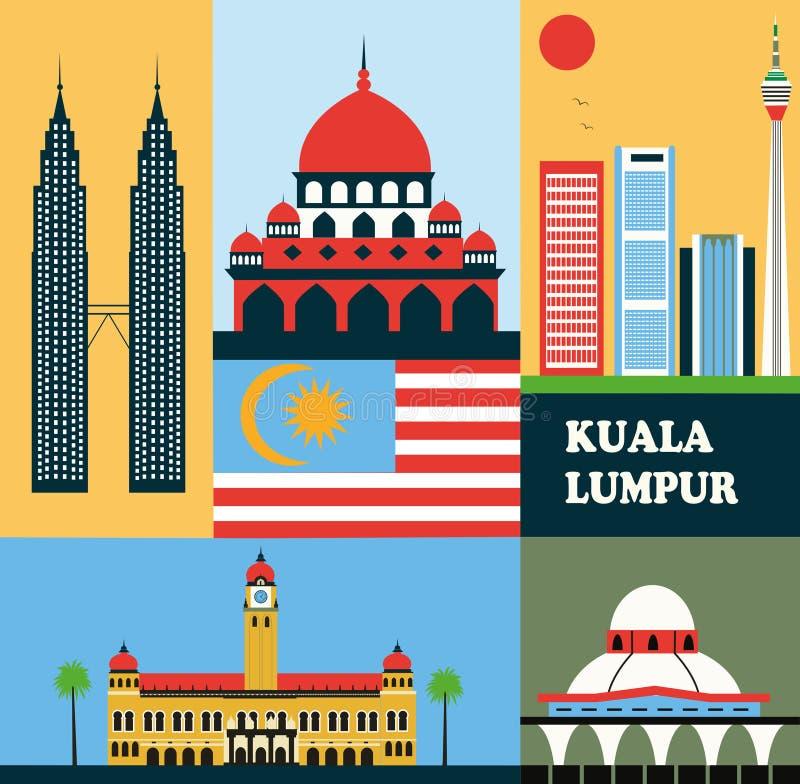 Symboles de Kuala Lumpur illustration de vecteur