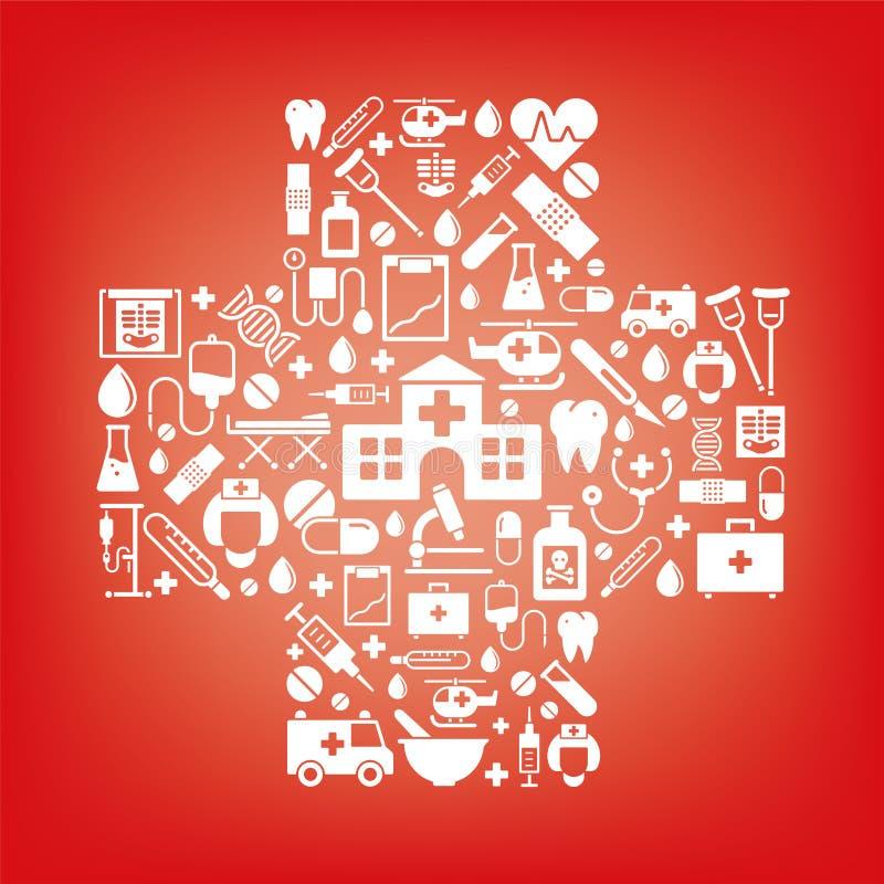 Symboles de médecine et de soins de santé dans une forme croisée illustration de vecteur