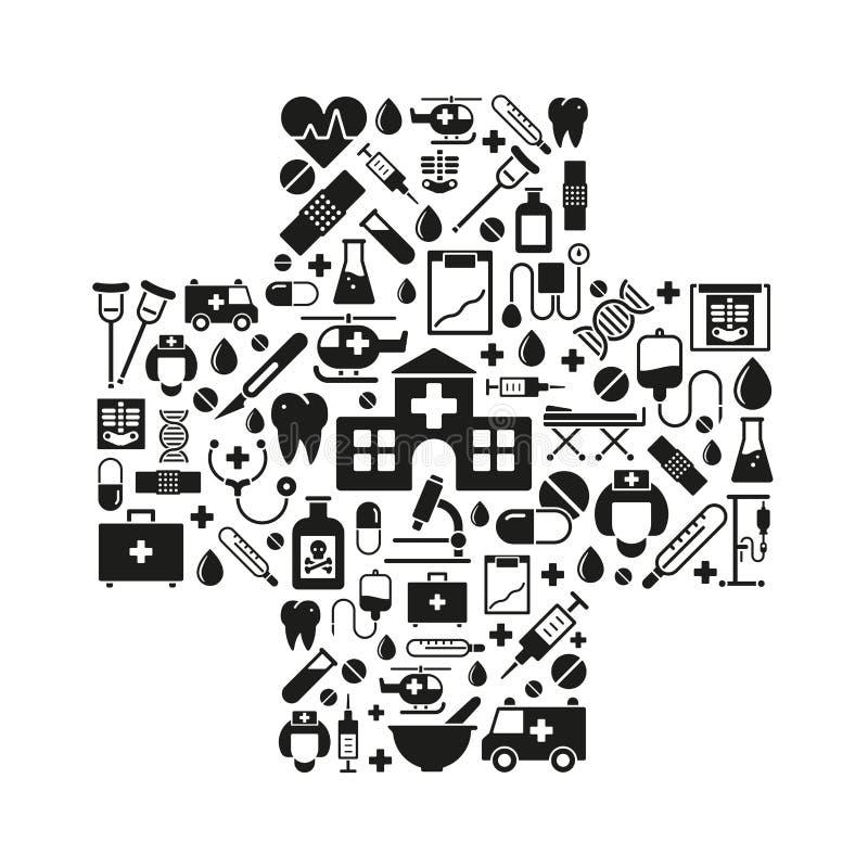 Symboles de médecine et de soins de santé dans une forme croisée illustration stock