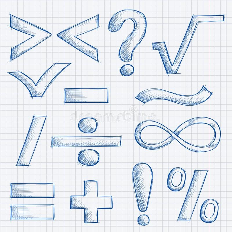 Symboles de mathématiques et de ponctuation Croquis tiré par la main sur le fond de papier rayé illustration stock