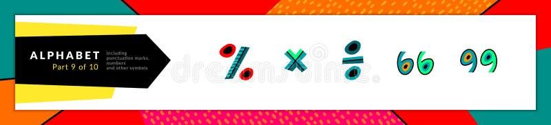 Symboles de maths de l'alphabet Le vecteur a stylis? des pour cent color?s, ensemble d'ic?nes se multiplie, de division et de cit illustration stock