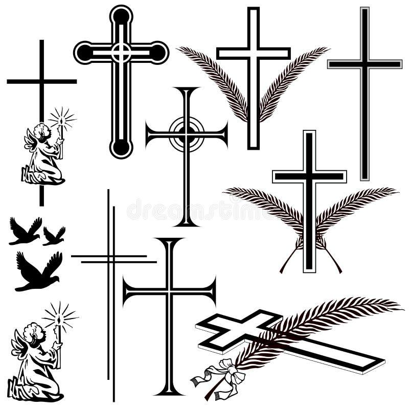 Symboles de nécrologie illustration stock