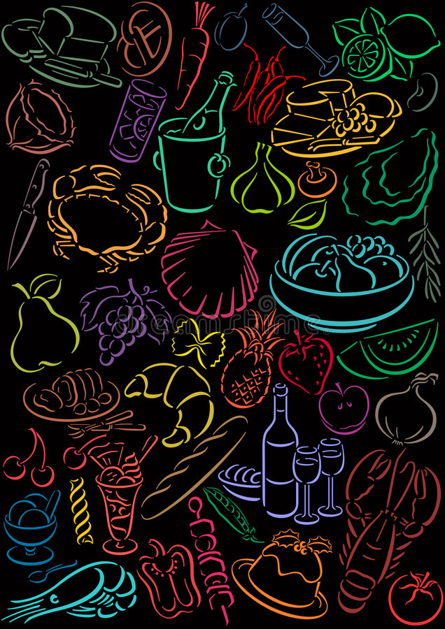symboles de nourriture illustration stock