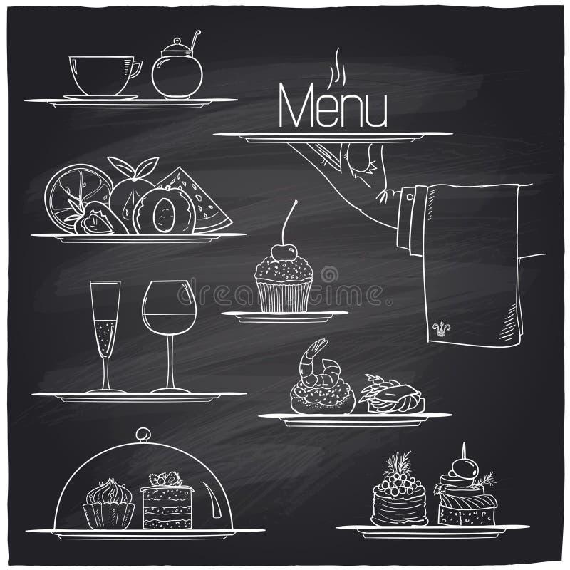 Symboles de nourriture de banquet de craie illustration de vecteur