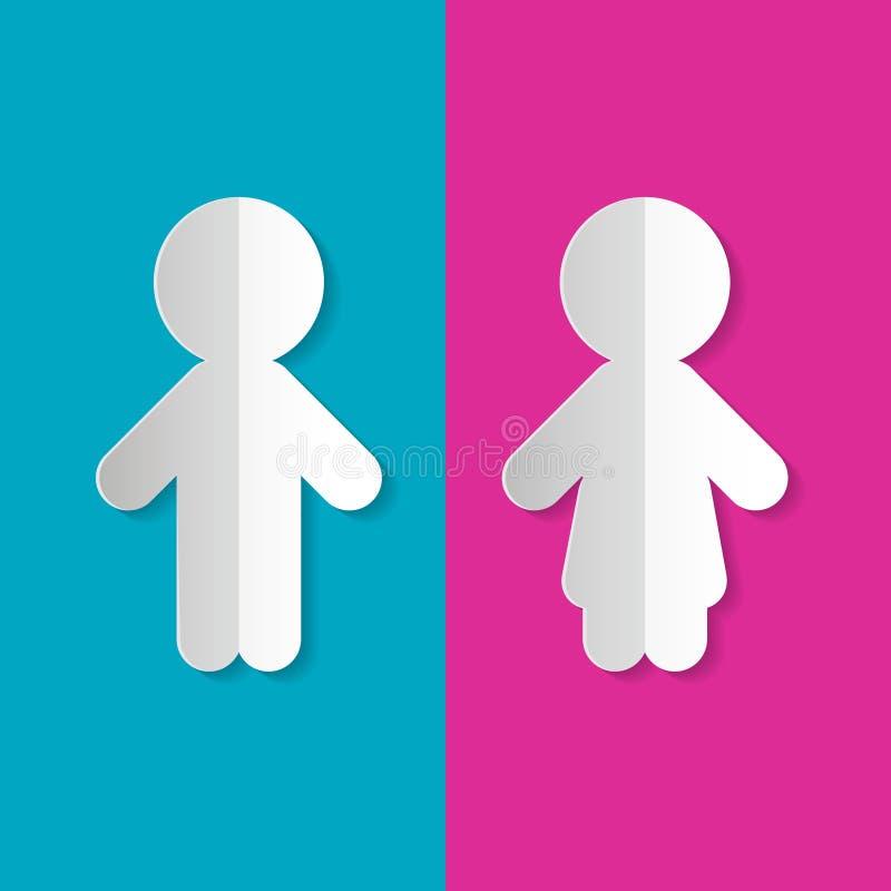 Symboles de papier d'homme et de femme illustration stock