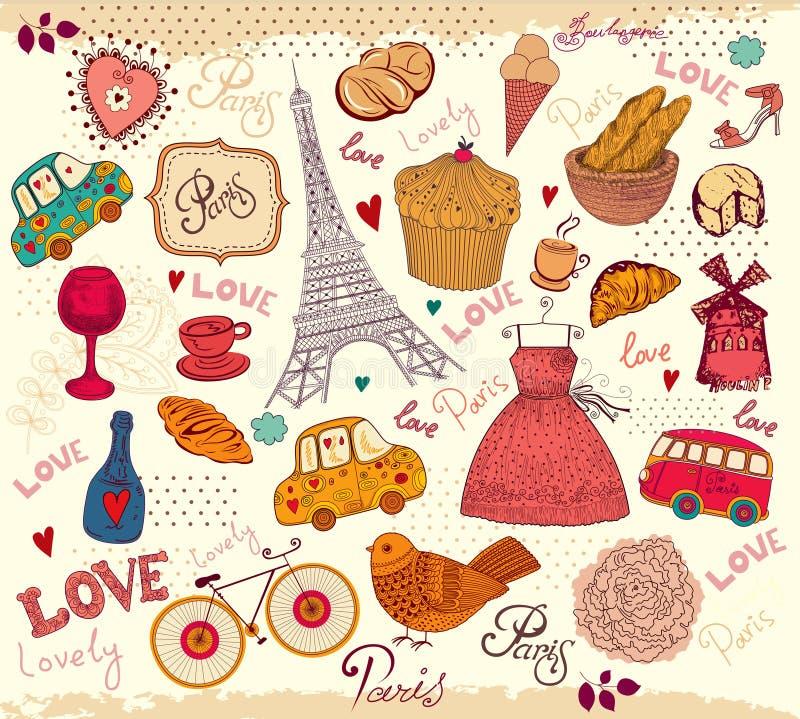 Symboles de Paris illustration de vecteur