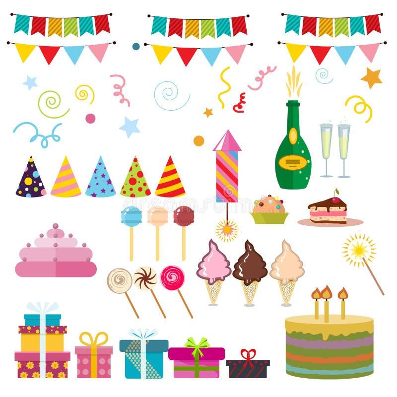 Symboles de partie de joyeux anniversaire illustration de vecteur