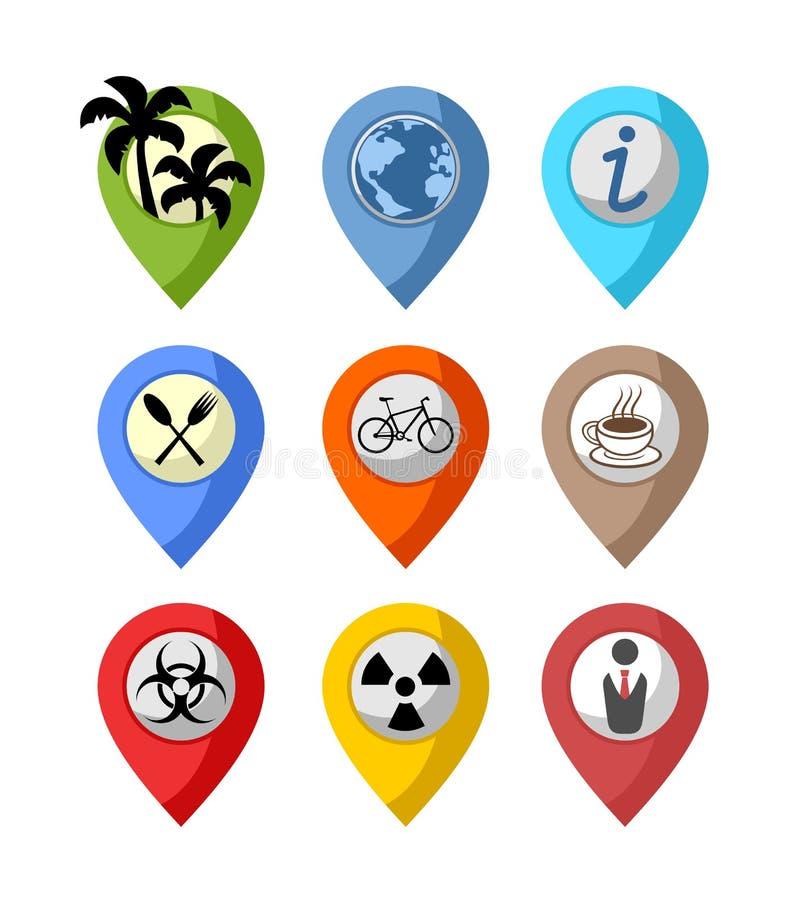 Symboles de point d'emplacement illustration stock